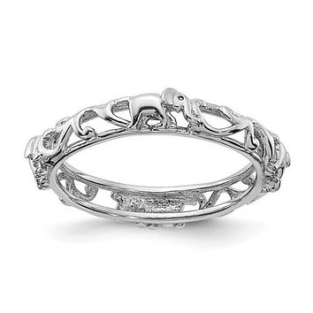 Sterling Silver Stackable Expressions Patterned Elephant Ring
