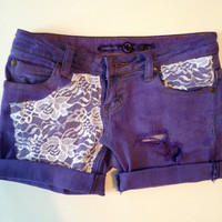 Purple with White Lace Jean Short