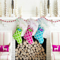 CIJ SALE 50% Off Christmas Stockings, Jumbo 2 foot stocking with fluffy feather boa top, 36 colors to choose from, pick your own fabrics