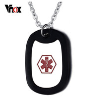 VNOX Stainless Steel Medical Alert ID Necklace Black Silicone Fashion 2016