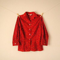 Vintage. 50's Ruby Red Paisley Button Up Blouse. Shirt. Collar. 3/4 Sleeves. Tailored. Gold Buttons. Retro. Classic. Festive. Small Medium