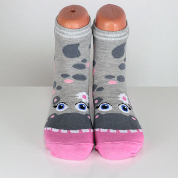 Hippo Socks Pink Gray Spotted Silver Striped Daisy Socks Women Socks Ankle Socks Animal Socks Cute Fun Socks Cotton Animal Socks echerpe
