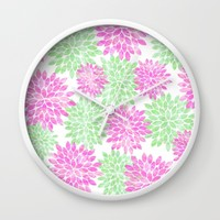 pink and green flowers Wall Clock by Sylvia Cook Photography