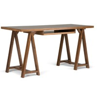 Sawhorse Writing Desk with Integrated Keyboard Tray