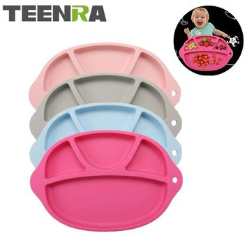 TEENRA 1Pcs Non-slip Silicone Baby Placemat Baby Dinner Plate Dish Bowl Kids Silicone Platemat Drinking Table Placemat For Kids