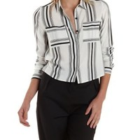White/Black Striped Button-Up Crop Top by Charlotte Russe