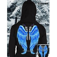 Country Life Outfitters Wings Guns Vintage Black & Blue Bright Girlie Hoodie