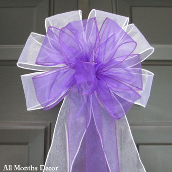 Set of 10 Purple over White Sheer Bows, Pew Wedding Bridal, Baby Girl New Mom Shower, Aisle Church Ceremony, Floral, Shabby Chic
