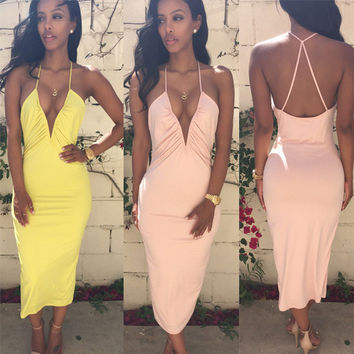 Solid Color Spaghetti Backless Cross Deep V-neck Dandage Dress