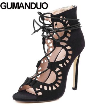 GUMANDUO Summer Roman Gladiator Carved Cut Out Open Toe Sandals Party Wedding Women Faux Suede Shoes Stiletto Pump High Heel