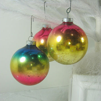 Vintage MERCURY Glass ORNAMENTS Set/3 OMBRE Christmas Tree Turquoise Pink Gold