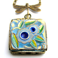 Painted Glass Pendant Necklace, Art Nouveau Necklace, Dragonfly Necklace, Blue, Turquoise, Green, Abstract Flower Pendant, Lapis Lazuli