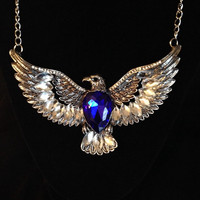 Antiqued Silver Crystal Eagle Statement Necklace