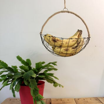 Hanging  Woven Wire Fruit Basket