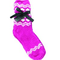 Traditional Snowflakes Fuzzy Crew Socks (2 Pairs)