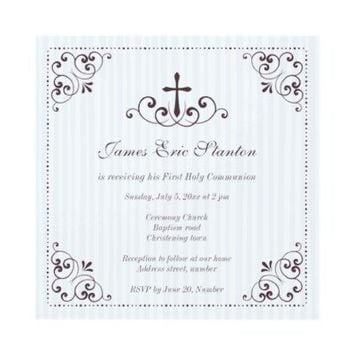 Elegant boys christening/baptism/first communion personalized announcement from Zazzle.com