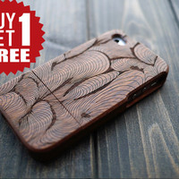 Mahogany Wood Phone Case for iPhone 4 4s , Engraved iPhone 4 4s Case Cover , Unique Wood iPhone 4 4s Case , Gift Idea , Only One