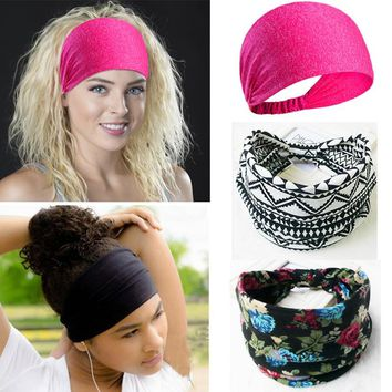 Sport Cotton Stretch Pink Black Turban Ladies Headbands For Women Head Wrap