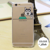 Clear Cute Dog Face Design Cover for Apple iPhone