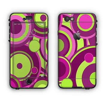 The Purple and Green Layered Vector Circles Apple iPhone 6 LifeProof Nuud Case Skin Set