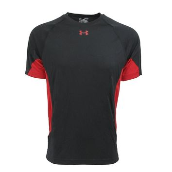Under Armour Men's Compression Recruit Performance Loose Shirt, Black Red (Size L, XL)