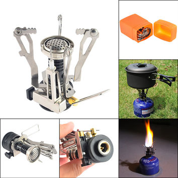 Portable Mini Ultralight Backpacking Canister Outdoor Camping Stove with Piezo Ignition Camping Stove Hiking Picnic Cookware