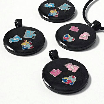 Autism necklace,  autism jewelry, autism mom, puzzle necklace, floating charm, boy, girl, autism puzzle piece, autism gifts pink or blue