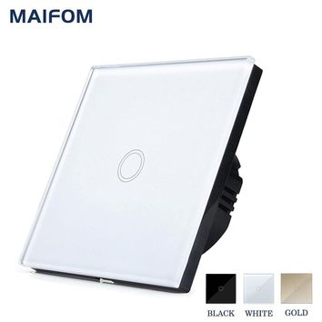 MAIFOM Touch Switch ON OFF Control 1 Gang 1 Way EU Standard Wall Light Switch Crystal Glass Panel Waterproof Home Switch