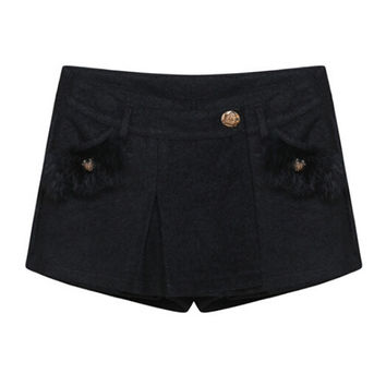 Fur Pocket Woolen Culottes
