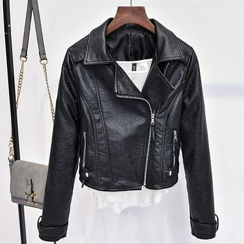 Women Leather Jackets and Coats Pure Fashion Ladys PU Biker Leather Jacket Street Wear Spring New Chaquetas De Cuero Mujer C404