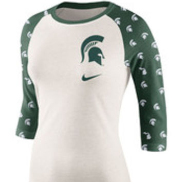 Nike Michigan State Spartans Womens Ivory Veer Short Sleeve Crew T-Shirt - 12516120