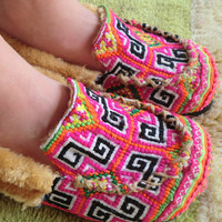 Colorful Pink Hmong Embroidered Plush Lined Slippers
