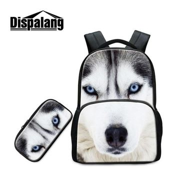 Boys bookbag trendy Dispalang Animal Backpack Patterns for College Students Tiger Wolf Printed School Pencil Bag Laptop  for Boy Cool Satchel AT_51_3