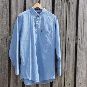 VTG CHAPS Ralph Lauren Men's Button Down Blue Shirt - USA Made - Size L