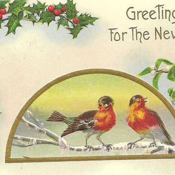 Bluebird Pair on Icy Branch Candle Lantern and Holly Vintage Stecher Litho New Years Postcard 1915 Weld Maine