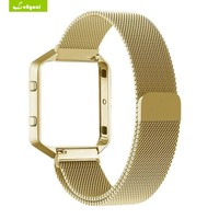 Leegoal Wearable Device For Fitbit Blaze Frame+Stainless Steel bracelet For Smart Watch Smart Wristband Accessory Band