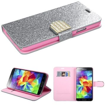 Insten - Folio Flip Glitter Leather Case Cover With Diamond For Samsung Galaxy S5 SM-G900 - Silver/Pink