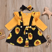 Two Piece Clothing Set Sunflower Print Baby Clothes