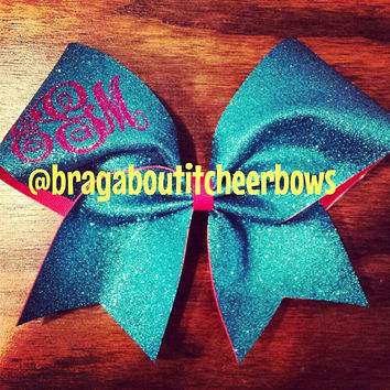 Monogram glitter cheer bow. Other colors are available.