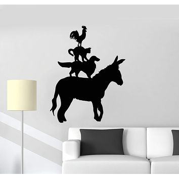 Vinyl Wall Decal Farm Silhouette Animals Donkey Dog Cat Rooster Stickers Mural Unique Gift (ig5106)