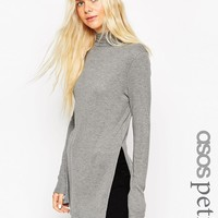 ASOS PETITE Longline Top With Side Split And Turtleneck