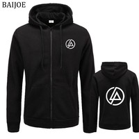 BAIJOE Linkin Park Letter Printed Hoodie Men Hip Hop Fleece Long Sleeve Rock Men's Sweatshirt Winter  Hoodies Jacket Free Shippi