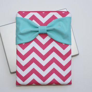 MacBook Pro / Air Sleeve, Computer Laptop Case - Hot Pink Chevron Light Turquoise Bow - Double Padded