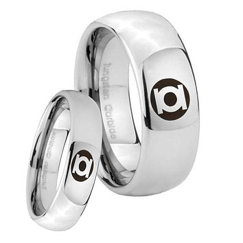 His Her Classic Mirror Dome Green Lantern Tungsten Carbide Silver Rings Set