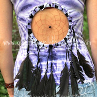 Native Dreamcatcher Cut Out Tie Dye Festival Fringe Hippie Shirt