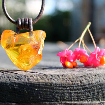 Raw Baltic Amber Man Necklace Pendant Charm Rough Stone Jewelry Honey Natural Butterscotch Unisex Zen OOAK Huge Big