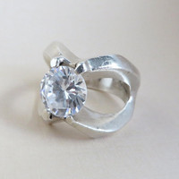 Size 8.5 Vintage Mexican Silver Ring, CZ Engagement Ring