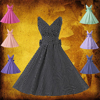 BIG SALE!! Pin Up Vintage Swing 50s 60s Housewife Pinup Rockabilly Party Dress