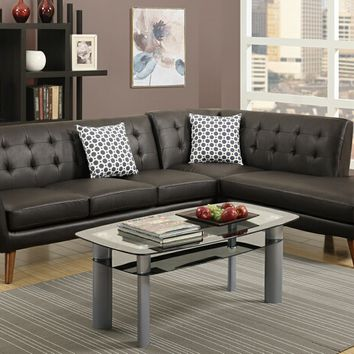 2 pc abigail collection espresso bonded leather upholstered sectional sofa with tufted back