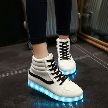 Noctilucent Winter Couple Korean High-top Lightning Multi-color Shoes [9257113036]